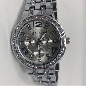 Geneva, Silver & Rhinestone Watch